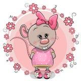 Grußkarte Karikatur-Ratte mit Blumen vektor abbildung