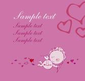 Grußkarte mit Amor. Lizenzfreie Stockfotos