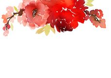 Grußkarte mit Aquarellblumen Lizenzfreies Stockbild