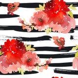 Grußkarte mit Aquarellblumen Stockbilder