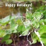 Grußkarte mit Aquarelllotosblume auf unscharfem Hintergrund Stockfotos