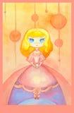 Grußkarte mit Aquarellzeichnung des Mädchens mit kleinen Kuchen Stockfotos