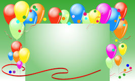 Grußkarte mit Ballonen und Bändern lizenzfreies stockfoto