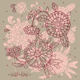 Grußkarte mit Blumen Stockfotos