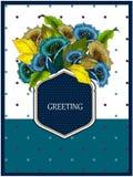 Grußkarte mit Blumenstrauß von Blumen Stockfotos