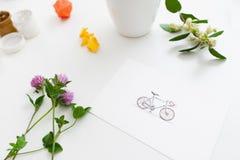 Grußkarte mit dargestelltem Fahrrad und Anlagen Lizenzfreies Stockbild