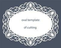 Grußkarte mit dekorativer ovaler Grenze, Doily des Papiers unter dem Kuchen, Schablone für den Schnitt, Heiratseinladung, dekorat Lizenzfreie Stockfotografie