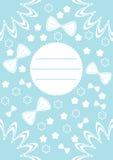 Grußkarte mit den blauen und weißen Verzierungen und den Blumen Vektor Lizenzfreie Stockfotografie