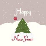 Grußkarte mit einem Bild eines Weihnachtsbaums Stockfotografie