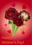 Grußkarte mit einem Blumenstrauß von roten Rosen Lizenzfreies Stockfoto