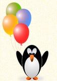 Grußkarte mit einem Pinguin mit Ballonen Stockfoto