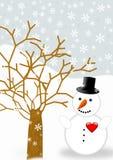 Grußkarte mit einem Schneemann Stockfotografie