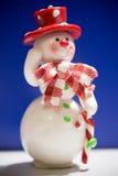 Grußkarte mit einem Schneemann Lizenzfreies Stockbild