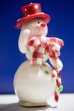 Grußkarte mit einem Schneemann Stockfoto