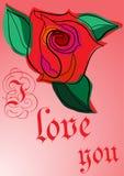 Grußkarte mit einer Liebeserklärung lizenzfreie abbildung