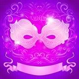 Grußkarte mit einer purpurroten Maske und Band für Lizenzfreie Abbildung