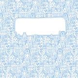 Grußkarte mit Fenster für Text mit Stadtmuster Lizenzfreie Stockfotografie