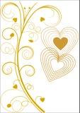 Grußkarte mit Flourishdesign und -herzen Stockfoto