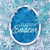Grußkarte mit fröhlichen Ostern - mit blauem Blume Osterei auf weißem Hintergrund