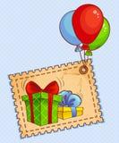 Grußkarte mit Geschenken und Ballonen Stockbild