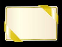 Grußkarte mit goldenem Farbband Stockfoto
