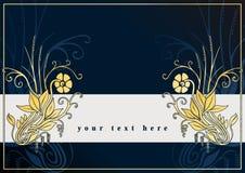 Grußkarte mit goldenen Blumen Stockbild