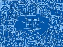 Grußkarte mit Häusern und Hof Lizenzfreies Stockfoto