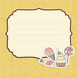 Grußkarte mit Handzeichnungs-Süßigkeitsschablone Lizenzfreie Stockbilder