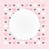 Grußkarte mit Herzen über Rosa stock abbildung