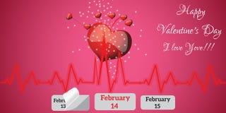 Grußkarte mit Herzen Stockfotografie