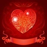 Grußkarte mit Herzen und Band für die Heirat Vektor Abbildung