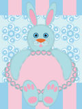 Grußkarte mit Kaninchen Stockfoto