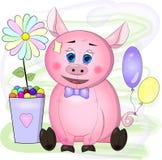 Grußkarte mit Karikaturrosa Schwein mit blauen Augen, Blume und Bällen stock abbildung