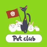 Grußkarte mit Katze und Haustieren stock abbildung