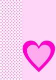 Grußkarte mit kleinen rosa Herzen und einem großen Herzen Stockfotos