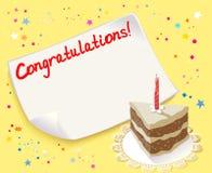 Grußkarte mit Kuchen und Kerze Lizenzfreie Stockfotografie