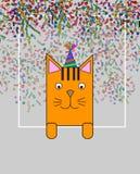 Grußkarte mit lustigen Karikaturtieren Platz für Ihren Text Mehrfarbige Katzen der lustigen Karikatur stock abbildung