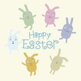 Grußkarte mit mit Ostern-Kaninchen Stockfotografie