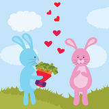 Grußkarte mit netten Kaninchen Valentinsgruß `s Tag Stockfotos