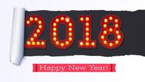 Grußkarte mit neuen kommen 2018 Der Text im Stil des amerikanischen Kasinos mit dem Glühen beleuchtet auf dem Hintergrund Lizenzfreies Stockbild