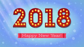 Grußkarte mit neuen kommen 2018 Der Text im Stil des amerikanischen Kasinos mit dem Glühen beleuchtet auf dem Hintergrund Stockfoto