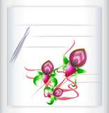 Grußkarte mit Orchideen und Stift lizenzfreie abbildung