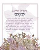 Grußkarte mit Pastellrosa-Mohnblumenweinlese Stockbild