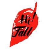Grußkarte mit Phrase hallo Fall Stelle auf dem Hintergrund Vektor lokalisierte Illustration: Bürstenkalligraphie, Hand Lizenzfreies Stockfoto