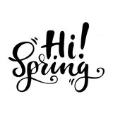 Grußkarte mit Phrase: Hallo Frühling Vektor lokalisierte Illustration: Bürstenkalligraphie, Handbeschriftung inspirational vektor abbildung