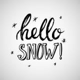 Grußkarte mit Phrase hallo Schnee Vektor lokalisierte Illustration: Bürstenkalligraphie, Handbeschriftung inspirational lizenzfreie abbildung