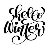 Grußkarte mit Phrase hallo Winter Vector lokalisierte Illustrationsbürstenkalligraphie, Handbeschriftung inspirational vektor abbildung