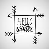 Grußkarte mit Phrase hallo Winter Vektor lokalisierte Illustration: Bürstenkalligraphie, Handbeschriftung inspirational lizenzfreie abbildung