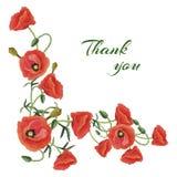 Grußkarte mit Poppies2 Lizenzfreie Stockfotografie