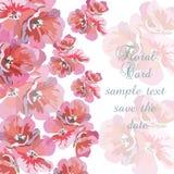 Grußkarte mit rosa Aquarellblumen stock abbildung